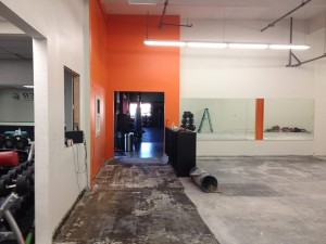 demo entry orange wall
