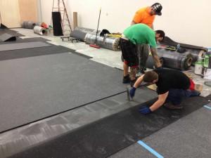demo flooring glue top layer