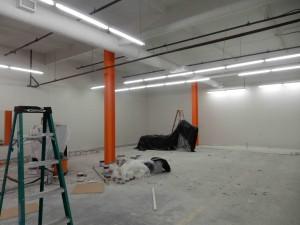 demo white ceiling orange post