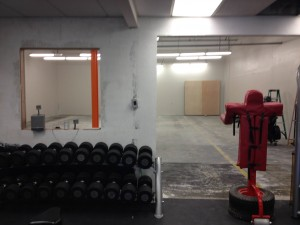small gym before office window